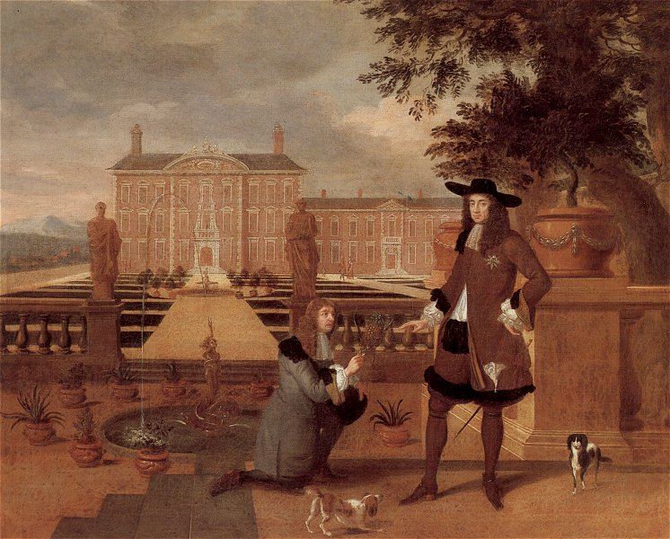 Painting of Charles II being given the first pineapple